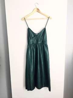 ZARA green emerald leather dress sleeveless Small