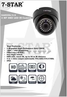 CCTV-7-STAR* 2MP Full HD 1080P High Performance SONY Starvis indoor/outdoor Smart 18IR Security Dome/Bullet Camera (4 in 1 AHD/TVI/CVI/960H - Weatherproof - Vandal Resistant - Wide-Angle)