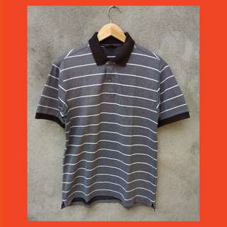 Uniqlo Polo Shirt Stripe Grey Original
