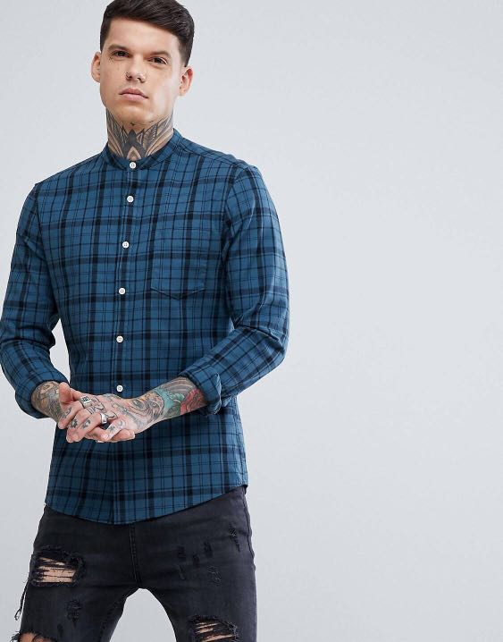 c997b5fed7ee BN ASOS skinny checked shirt grandad collar, Men's Fashion, Clothes ...