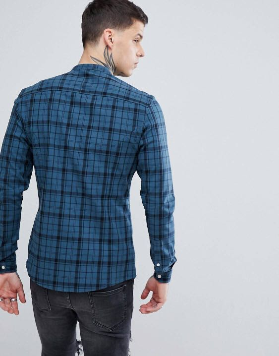 d6080487cb6f BN ASOS skinny checked shirt grandad collar, Men's Fashion, Clothes, Tops  on Carousell