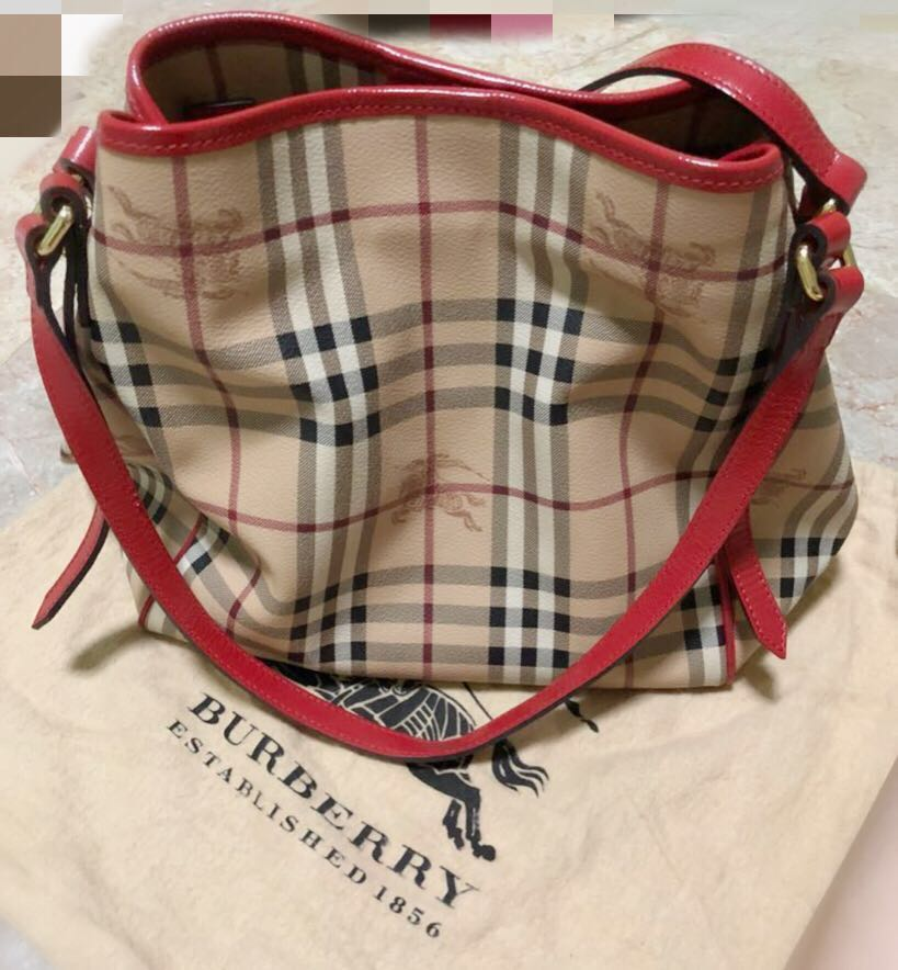 49a13f463d97 Burberry Small Haymarket Check Canterbury Tote Bag Red