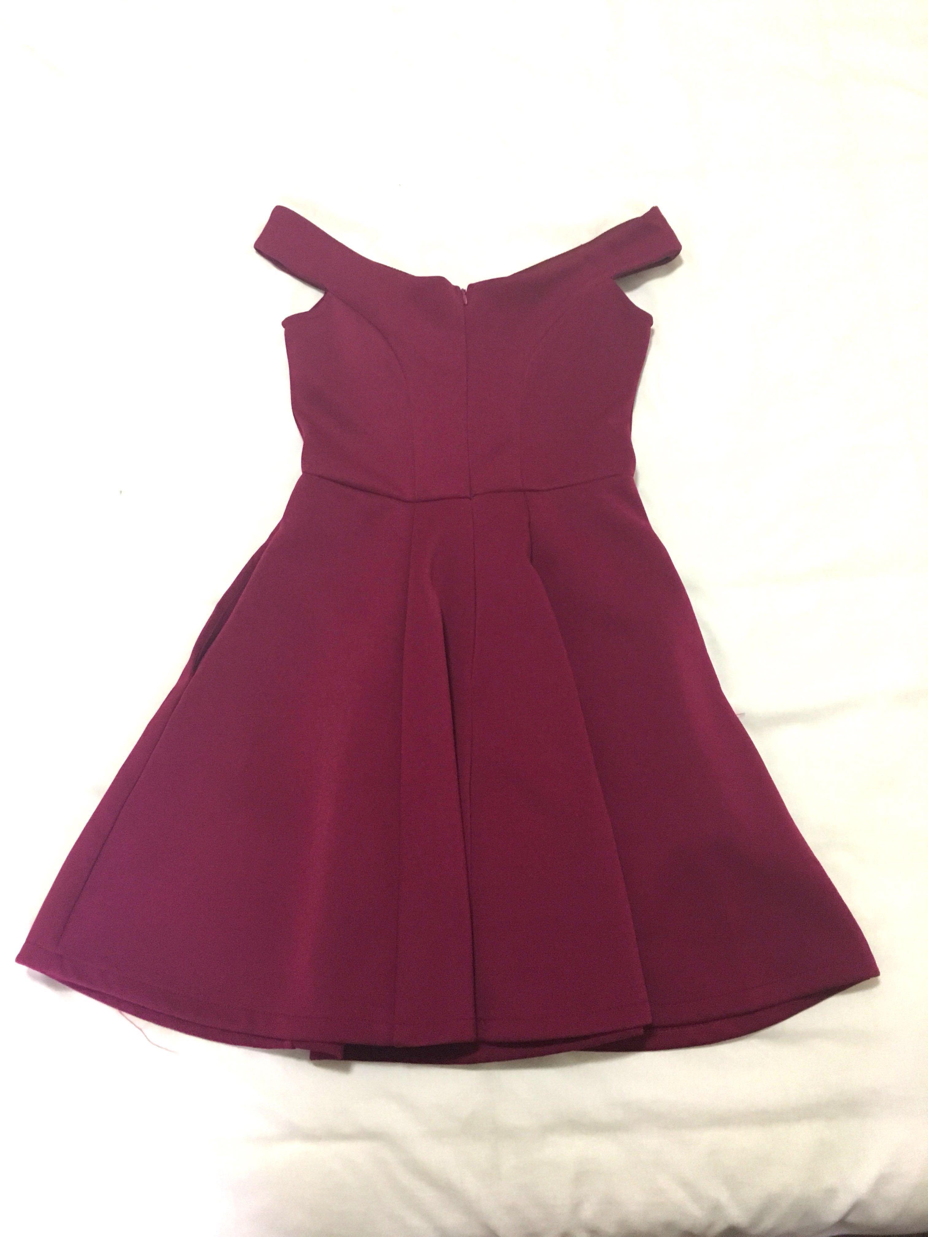 416e2c412828 ELLYSAGE Raspberry Off-Shoulder Dress