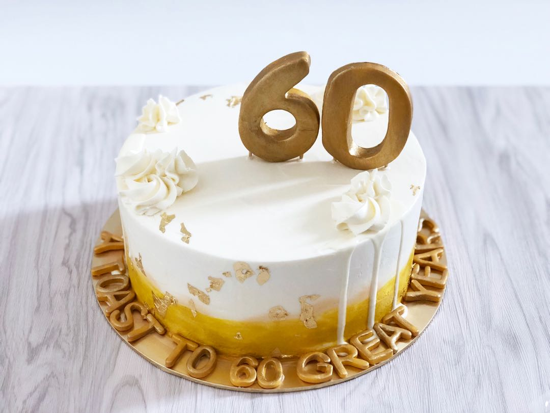 Gold Cake For 60 Years Old Food Drinks Baked Goods On Carousell