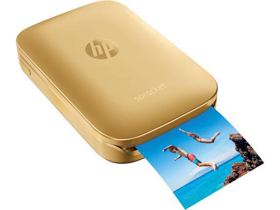 HP Sprocket Portable Photo Printer - Gold + 7 Sticky Papers