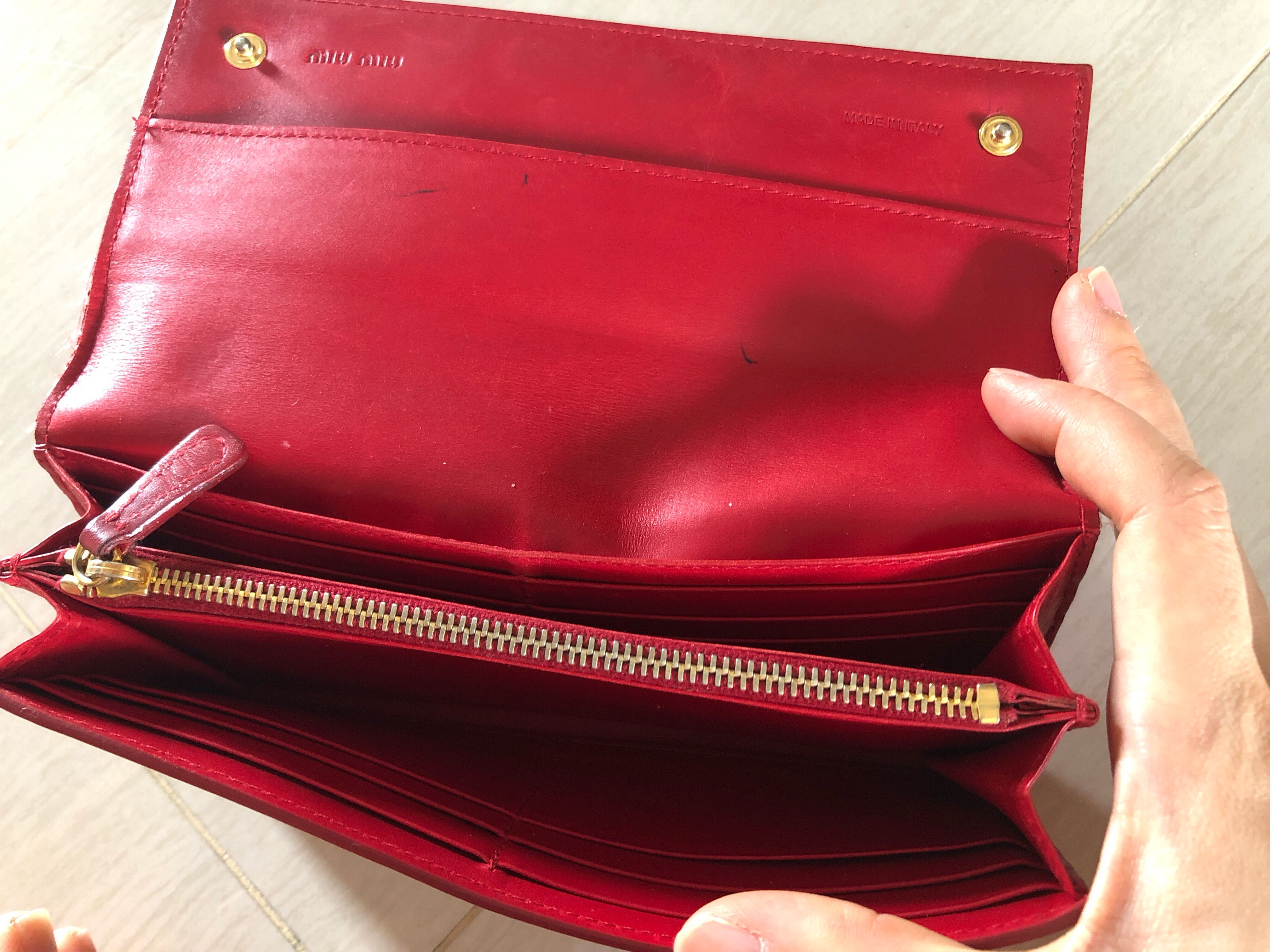 33f21062b502 miu Miu red leather wallet authentic pre loved