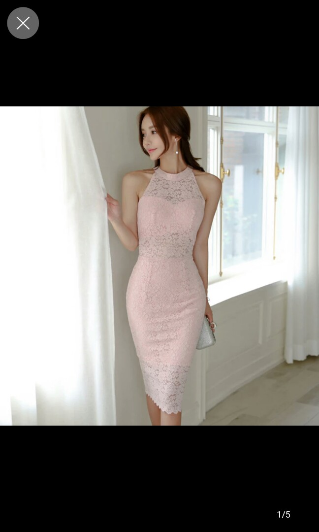 4f8aacdaf2c4 Pink lace see thru bareback dress, Women's Fashion, Clothes, Dresses ...
