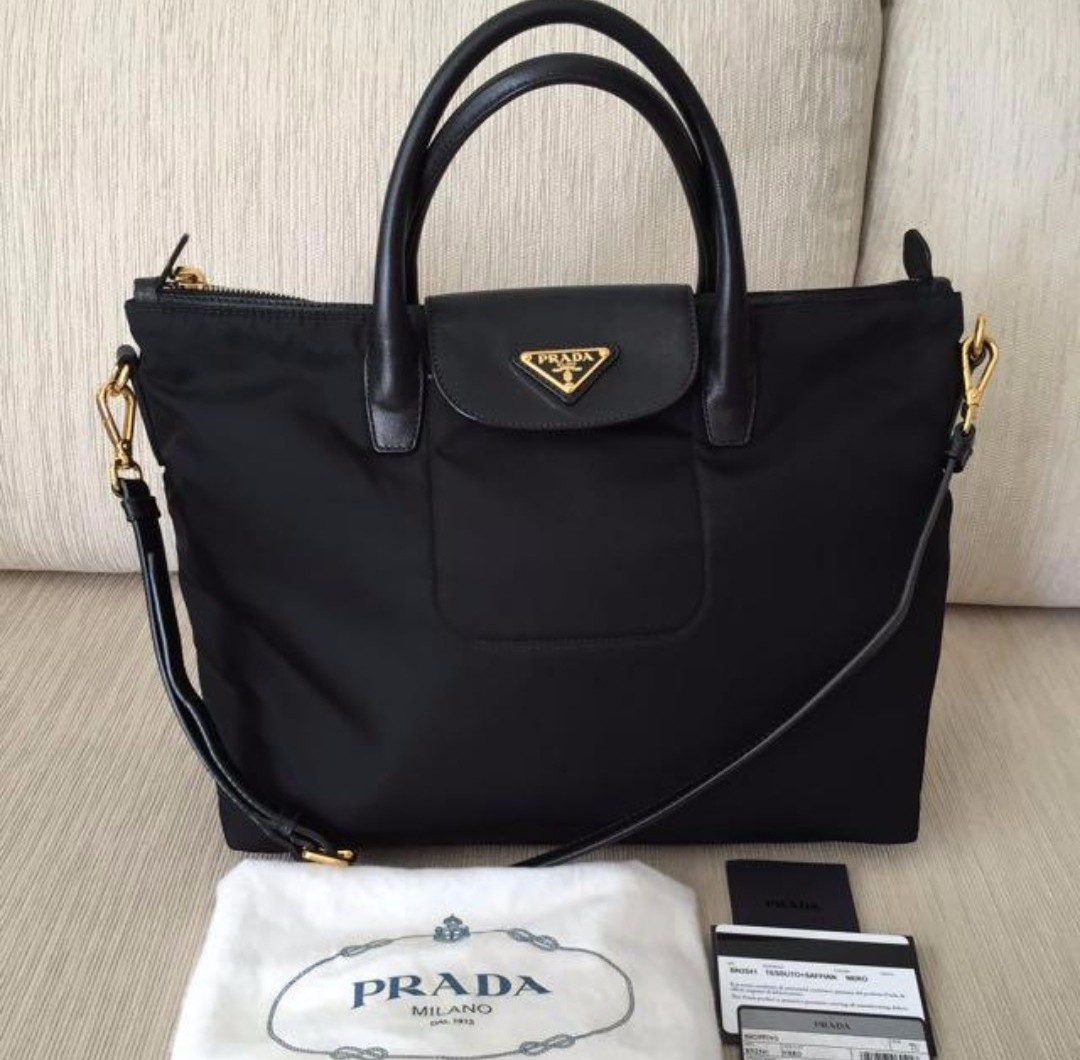 976ae892c2a5 ... coupon code for sales original prada bn2541 tessuto nylon convertible tote  bag black luxury bags wallets ...