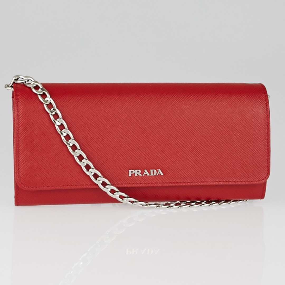 7c979e211b0aad Prada Red Saffiano Leather Wallet on Chain Clutch Bag, Luxury, Bags ...