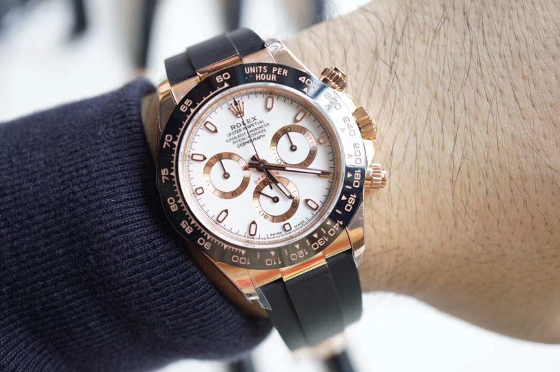 Rolex Daytona Cosmograph 116518ln 18k Rose Gold Case On Rubber Strap