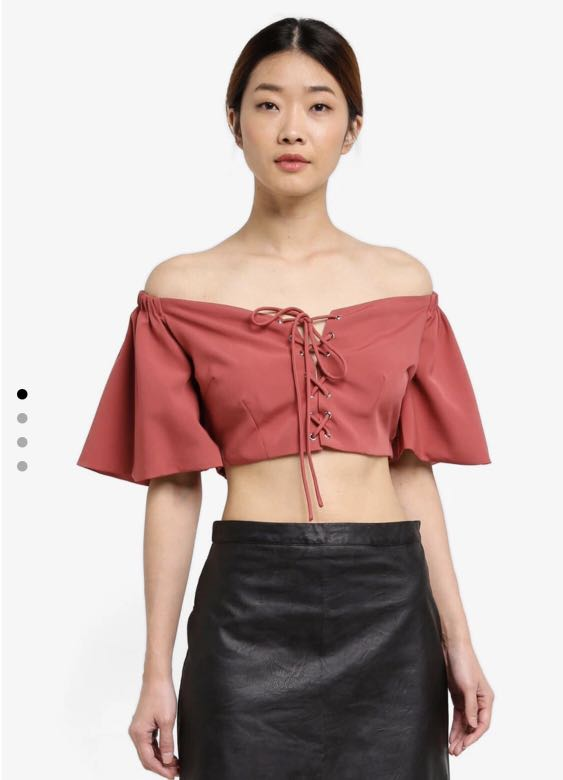 d9e2d4403b1 Something Borrowed Off Shoulder Lace Up Corset Crop Top, Women's Fashion,  Clothes, Tops on Carousell