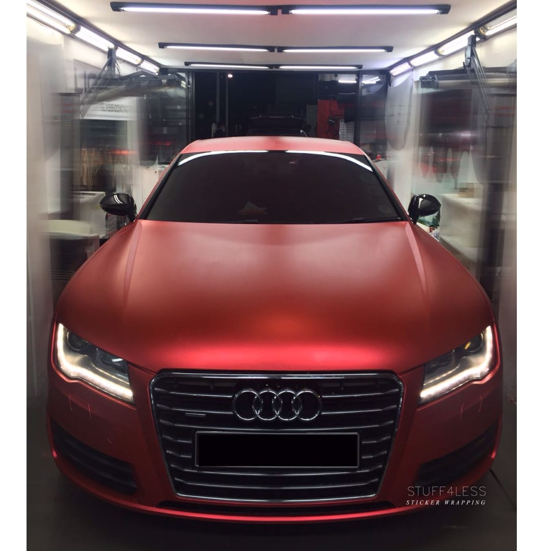 STICKER WRAPPING FOR AUDI AMATTE CHROME RED Car Accessories - Red audi