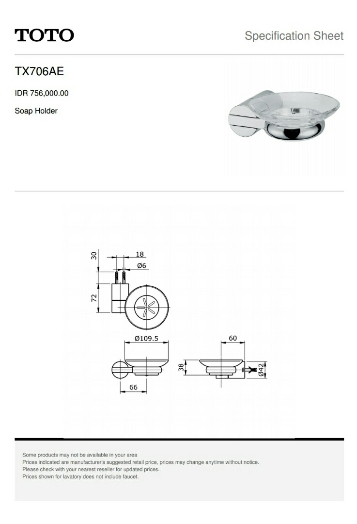 TOTO TX706AE SOAP HOLDER, Furniture, Others on Carousell