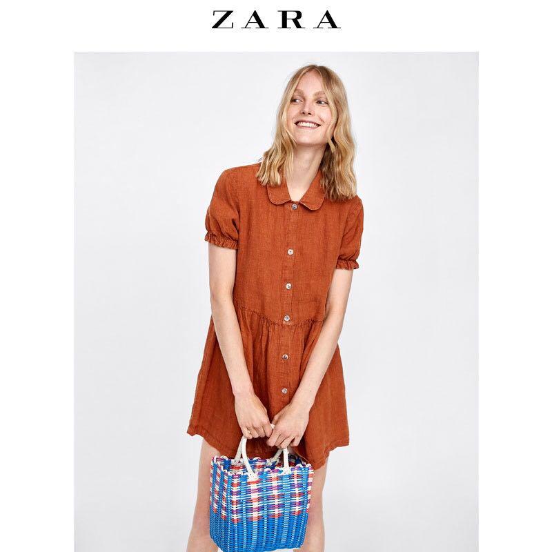 4d99332de0 Zara Linen Baby Doll Dress in Rust