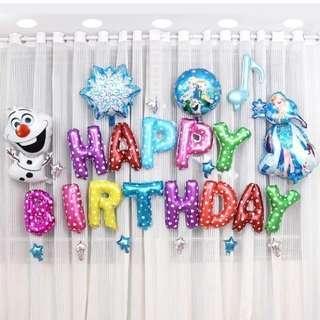 🦄 [Instock] Happy Birthday Party Decor Balloon Set - Frozen (Elsa / Anna / Olaf)