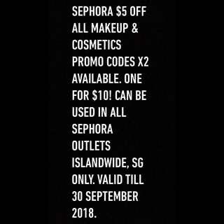 SEPHORA SG $5 PROMO CODE X2
