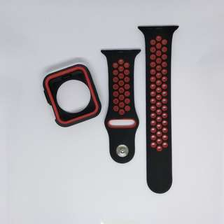 Free Mailing! Apple Watch Sport Strap + Cover for 42mm - Black & Red