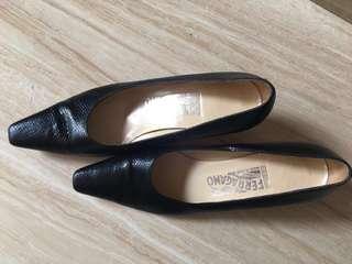 Salvatore Ferragamo low heel black shoes