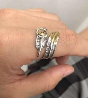 全手工製造 開口羽毛925銀戒指 果女均可 情侶戒指 開口13-26號均可帶
