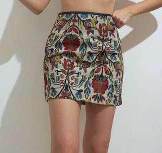 Brocade baroque tapestry mini skirt