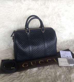 Gucci Boston Navy Leather GG Embossed 2018