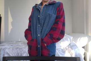 Vintage denim flannel rework shirt