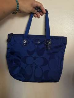 Pre-loved original Coach blue monogram handbag (small)