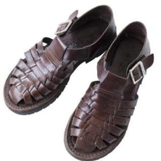 Vintage古董鞋 美國品牌Brand X 焦糖色經典編織真皮涼鞋 US6 (古著)
