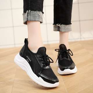 Women Cloth Mesh Wild Trend Sports Running Shoes Plus Size Ladies Rubber Shoes [Black/White]