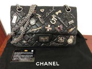 Chanel Black Aged Calfskin Reissue 2.55 Lucky Charms Flap Bag