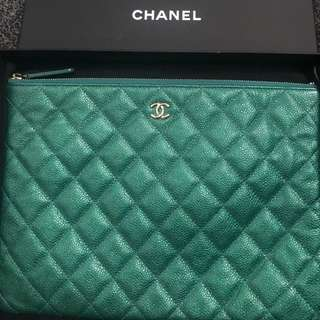 Authentic Chanel Caviar green clutch