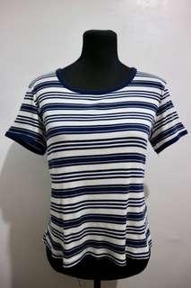H&M semi crop top stripe blue and white