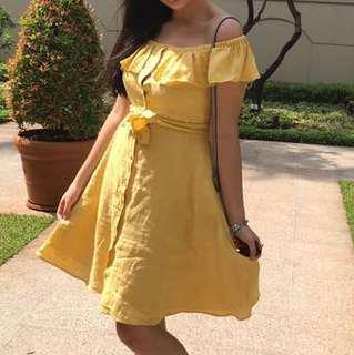 Zara Yellow Off Shoulder Dress