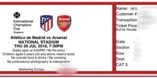Atletico de Madrid vs Arsenal tickets 26 JUL 2018 in Singapore worth RM400 (SG$138)