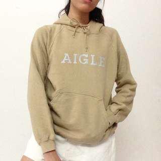 Aigle Tan Hoodie Pullover Sweatshirt Logo Spell Out Khaki