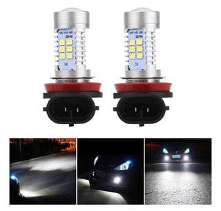 2pcs 12V Car Auto H8/H9/H11 21SMD LED Headlight DRL Fog Light Lamp Kits 21W 6000K Bulbs