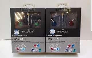 100%全新Magaosi K5全球最抵最新款五單元動鐵可換線MMCX有線耳機(高配版)