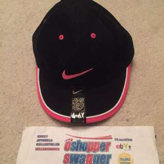 NIKE SWOOSH 4-6x KIDS VELCRO CAP BLACK PINK BNWT