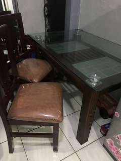 Meja makan kayu 2 kursi