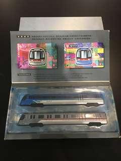 98年機場快線東涌線地鐵模型連兩張紀念車票