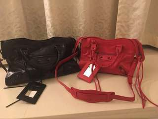Red Balenciaga Leather Bag