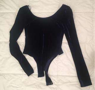 Navy blue velvet body suit