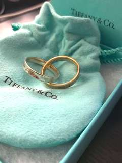 TIFFANY & CO Sterling Silver 18K Rose Gold 1837 Interlocking Circles Ring