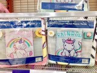*ONLY 1 EACH* UNICORN coral fleece throw blanket bed room nursery babies kids adult girls mummies gift home cute pink turquoise rainbow deco