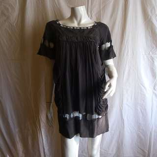See By Chloe Charcoal Grey Cut-Out Silk Tunic Dress XS