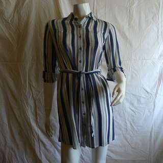 Dorothy Perkins Striped Belted Long Tunic Shirt Dress- Size XS US2