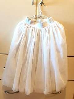 韓國白色橡筋頭紗裙 (五層紗加里布)