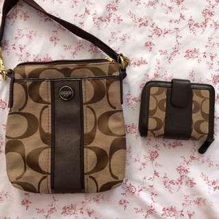 Coach Cross Body Bag and Wallet Set