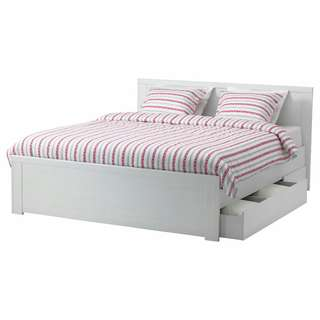 Ikea Brusali bed frame with storage size Double