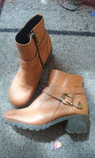Brown heel ankle boots